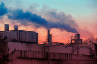 Air pollution with smoke from factory chimneys