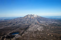 Aerial View of Mount Ruapehu, North Island, New Zealand, Oceania. Lower Tama Lake in the foreground,