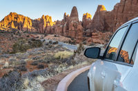 Winter sunrise driving in Arches National Park