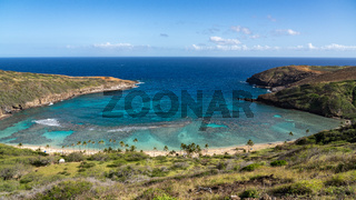 Panoramic view of Hanauma Bay nature preserve on Oahu, Hawaii
