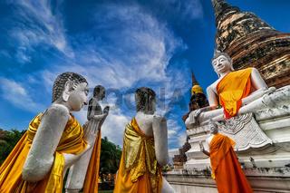 Buddhas at Wat Yai Chai Mongkhon temple. Thailand