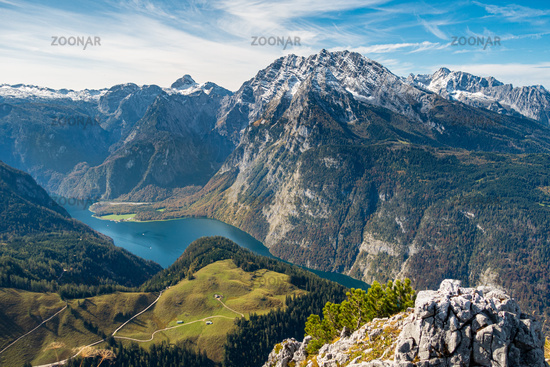 The view from the Jenner over the Königssee and to the Watzmann massif, Berchtesgarden, Germany