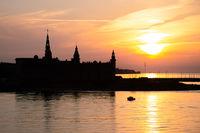 Kronborg castle silhouette in Helsingor at sunset