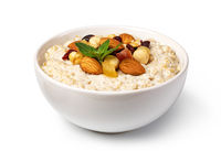 prepared oatmeal with fruits and nuts