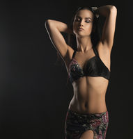 Sexy dancer in fine Easten style costume portrait