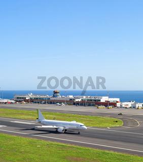 Airplane airport terminal Madeira Portugal