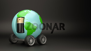 World Planet with Wheels Powered by an Electric Battery on Black Background with Copyspace 3D Illustration
