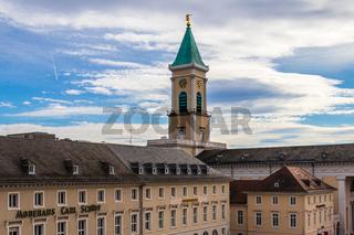Panorama of Tower of Evangelische Stadtkirche Karlsruhe and surrounding Buildings. Karlsruhe, Baden-Württemberg. Germany