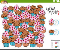 counting muffins and cupcakes educational task for kids