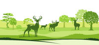 Deer in the landscape - vector illustration