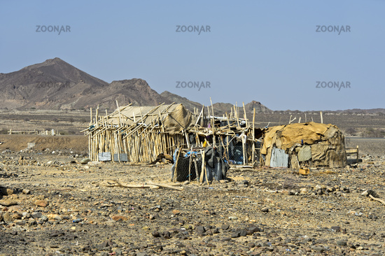Traditional shelter of Afar nomads, Danakil Valley, Afar Province, Ethiopia