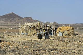Traditionelle Unterkunft der Afar Nomaden, Danakil Senke, Afar Provinz, Äthiopien