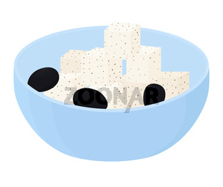 Feta soft spicy cheese with olives in blue bowl