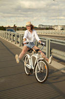 girl moves on bicycle
