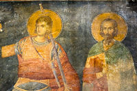 Fresco in Cora Church, Istanbul, Oct 11, 2013, Procopius of Scythopolis, soldier and saint. Sabbas S