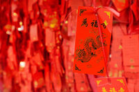 Red signs in Wild Goose Pagoda - Xian China