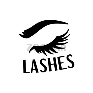 Beautiful black lashes and eyebrow fashion sticker with text, trendy patch badge, vector illustration isolated.