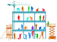 Construction workers build a building