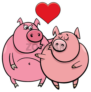 valentine card with pig characters in love