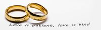 Golden wedding rings on bible phrase