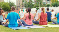 yoga group of young girls and men meditates sitting in the park