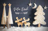 Christmas Tree, Moose, Moon, Stars, Snow, Vielen Dank Means Thank You