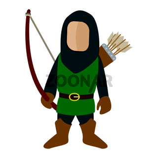 Medieval character archer cartoon icon