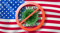 Warning sign with crossed out Coronavirus bacteria on the background of American flag.