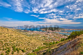 Trogir riviera. View from the hill to Trogir and Kastela bay