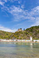 Katz Castle and St. Goarshausen on the Rhine in the Middle Rhine Valley