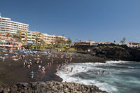 Bathers in Playa de la Arena in Alcala, Tenerife, Canary Islands, Spain, Europe