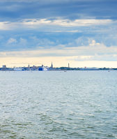 Skyline Tallinn sea harbor Estonia