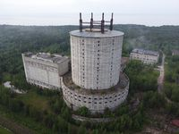 aerial view of an abandoned facility taken on a cloudy morning with no people in sight