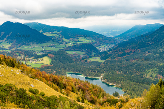 Valley view of the Hintersee, behind it the village Ramsau in Berchtesgarden, Germany