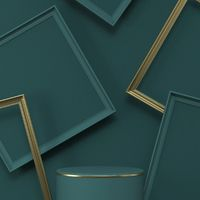 Mock up podium for product presentation with golden and green picture frames 3D