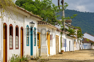 Streets of cobblestone and old houses in colonial style on the historic city of Paraty