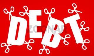 Use scissors to cut away debt. Concept of debt management