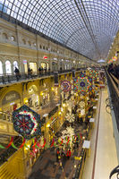 New Year and Christmas decorations of a large department store. Moscow, Russia.