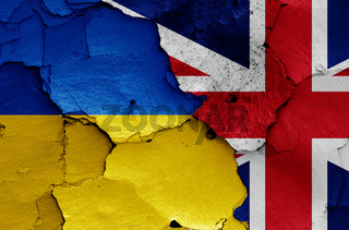 flags of Ukraine and UK painted on cracked wall