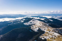 Morning in the mountains. Carpathian Ukraine, Aerial view.