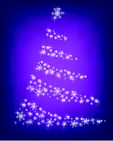 Abstract Christmas tree of snowflakes and sparks on a purple background