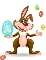 Rabbit with easter egg on a white background