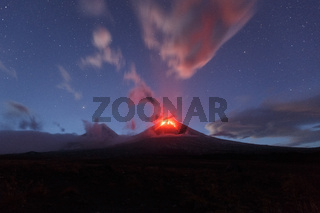 Night view of eruption Volcano Klyuchevskaya Sopka. Kamchatka Peninsula