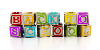 Back to school text with toy blocks isolated on white