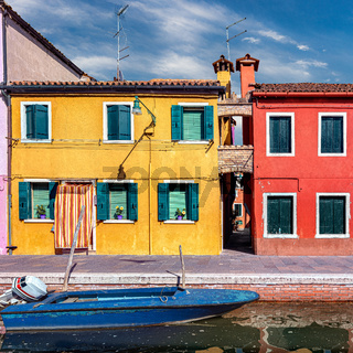 The colorful houses in Burano, Venice, Italy.