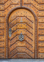 Old wooden gate of a house in Prague