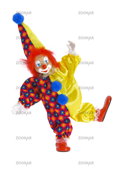 Clown with colorful clothes at carnival