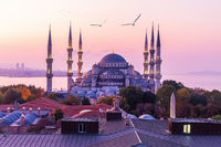 Wonderful Sultan Ahmet Mosque or the Blue Mosque in the morning sun of Istanbul, Turkey