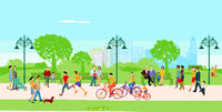 People in the city park at leisure illustration