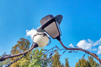 Beautiful street lighting in the park against the blue sky.